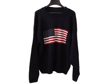Vintage American Flag Sweater Navy Blue Size Large