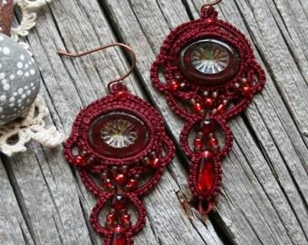 Merlot Artisan Beaded Tatting Fiber Dangle Chandelier Red Deep Earrings
