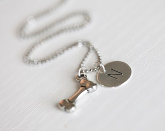 Dog Name Necklace, Bone Necklace, Dog Initial Silver Necklace, Ball Chain Necklace, Custom Dog Necklace, Hand Stamped Dog Charm