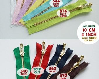 YKK Zipper - Ball Drop Metal Zipper - 10cm, 12cm, 14cm, 16cm, 20cm, 25cm, 30cm GOLD - for 2 Pcs
