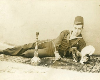 "Vintage Real Photo Postcard ""Hookah Hank and Puppy"" Antique RPPC Photo Black & White Photography Paper Ephemera Collectible - 19"