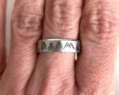 Silver Mountain Trees Ring, aluminum ring, hand stamped ring, adjustable ring, nature jewelry, tree ring, mountain ring, unisex ring