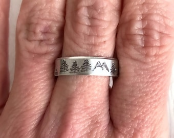 Hand Stamped Mountain Forest Ring, aluminum adjustable cuff ring, mountains and trees jewelry, nature jewelry, climbing gift, hiking ring