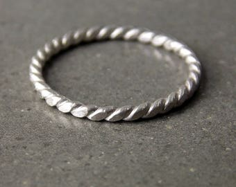 Skinny Twist Ring, Brushed Satin Finish, Sterling Silver Stacking Ring, Made to Order