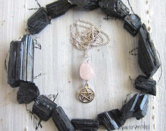 Wiccan jewelry rose quartz Pentacle Necklace - witchcraft pagan pentagram pendant mystical witchy jewelry occult wiccan amulet