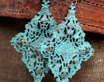 Lola Earrings - Large Turquoise Verdigris Diamond Shaped Filigree Earrings