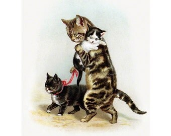 Cat Greeting Card - Mama Cat with Kittens Notecard - Vintage Style - Repro Helena Maguire