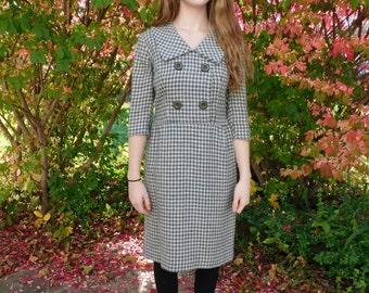 Vintage Houndstooth Wool Wiggle Dress