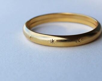 Vintage Gold Plated Diamond Sunburst Bangle Bracelet Victorian Revival
