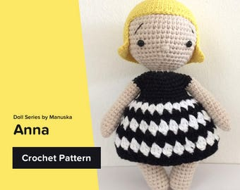 Anna | Pattern, One Piece Doll Pattern, Crochet Doll Pattern, Amigurumi Pattern, Pdf Pattern