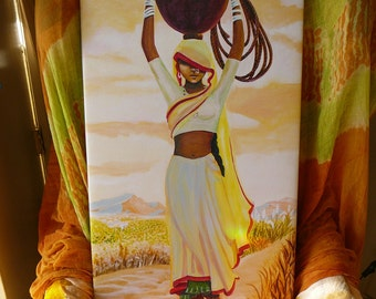 Sale ...indian village girl canvas print ready to hang art by Syam Marquez
