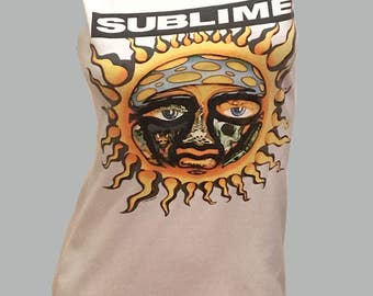 Vintage Trippy 1990s SUBLIME Reshaped T-Shirt / Dress Sz. S / M