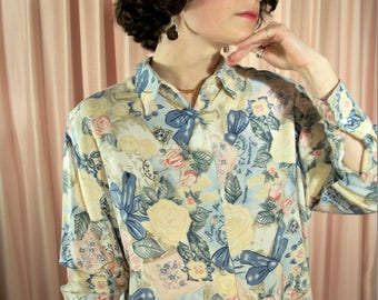 Pastel 80s Button Up Long Sleeve Blouse