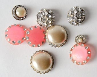 Rhinestone Buttons Mixed Lot - Vintage Assorted Pink Clear Metal - 50s -60s Pearl -B4B