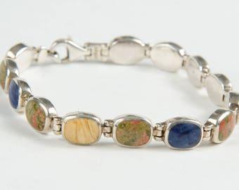 "Sterling Silver Bracelet Jasper Lapis Yellow Onyx 925 Small 7 3/8"" -B4"