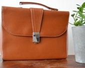70s Womens Briefcase Brown Vintage Soviet Handbag Portfolio Vinyl Retro Bag