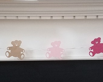Teddy Bear Banner, Garland for Baby Shower, Vintage Teddy Bear baby Shower Decorations - Choice of Colors