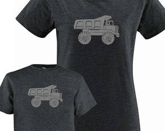 Mother Son Matching Dump Truck Shirts - Mommy and Me Matching Shirts, Tshirt Set - T shirt gift, mom child, mom shirt, mother son, boy
