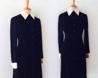 1990s RALPH LAUREN  black velvet midi dress with contrast collar, size medium