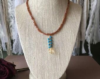 Garnet Necklace, Turquoise Necklace, Citrine Necklace, Gemstone Necklace, Gemstone Jewelry, Garnet Jewelry, Turquoise Citrine Jewelry