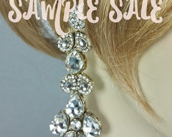 Extra Long Crystal Bridal Earrings .. Winter Wedding ... Gift For Her .. Sample Sale
