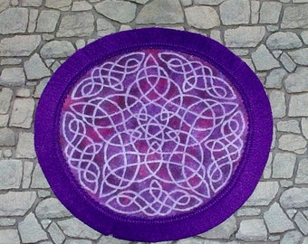 Purple Celtic Round Rug, Dollhouse Miniature. 1/12 Scale, Hand Made