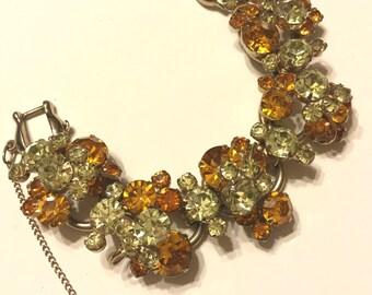 Sparkling Vintage Juliana Topaz And Clear Rhinestone Bracelet