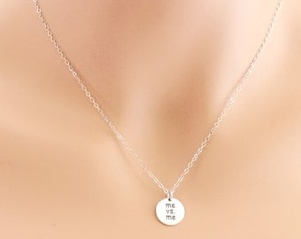 Me Vs. Me Necklace, Challenge Yourself, Sterling Silver, Fitness Necklace, Weight Loss Jewelry, Self Challenge Necklace, Sports Jewelry
