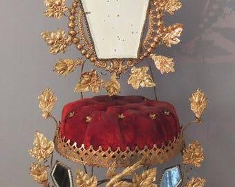 Antique 19th Century French GLOBE DE MARIEE Wedding Stand / Victorian Bridal Gift / French Wedding Cushion / French Wedding Decor
