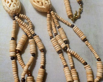 Carved Bone Lattice Eggs with Hand-Carved Decorations and Many Wooden Beads in Many Shapes ~ Beautiful Tribal Statement Necklace
