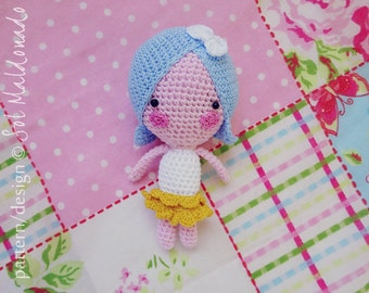 Amigurumi Crochet Doll Pattern - Lulu miniature Tiny Doll - Easy, fast, cheap and cute - Instant Download