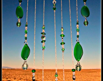 Irish Green Beach Glass, Caged Marbles, Shamrock Beads, Crystals, Mobile/Wind Chime