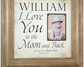 i love you to the moon and back baby picture frame baptism gift from aunt christening gift first birthday baby newborn gift 16x16