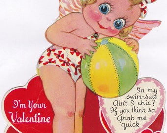 Ain't I Chic?- 1940s Vintage Card- Mechanical Valentine- Cupid Girl- Swimsuit- Beach Fairy- Grab Me Quick- Paper Ephemera- Used