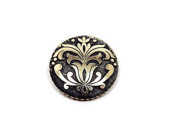 Vintage Scarf Clip Black and Gold Tone Made in West Germany Mid Century Art Nouveau Design