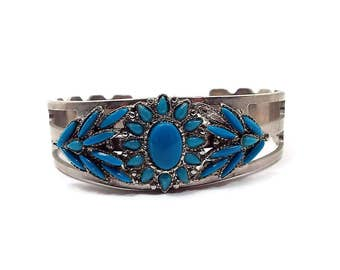 Faux Turquoise Vintage Cuff Bracelet Southwestern Tribal Silver Tone and Blue Retro