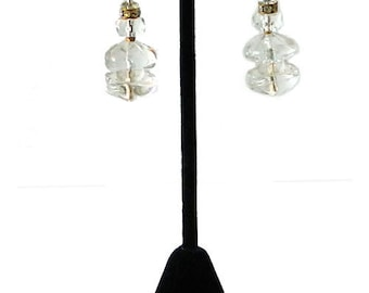 Vintage 1950's Miriam Haskell Clear Glass Bead Drop Earrings