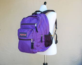 Vintage Jansport Purple Backpack Book Bag School Bag Daypack Student Hipster Pack Ruck Sack Vegan Old School Essential Summer Spring Biker