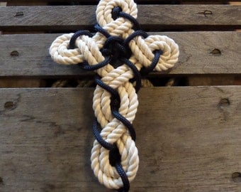 EASTER Rope Cross Knotted Woven Cotton and Navy Rope Nautical Beach Cross Collection
