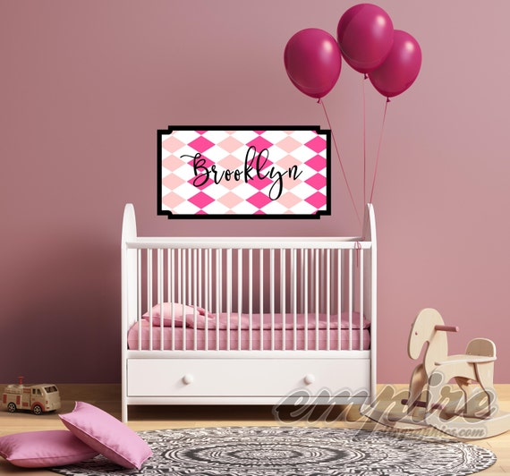 Girls Pink Diamond Pattern Custom Name Decal, Framed Custom Nursery Decal, Personalized Name Wall Decal, Harlequin Decals, Monogram decal
