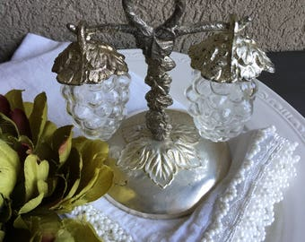Vintage Glass Grapes Salt & Pepper Shakers Hanging Clear Set on Stand - #D2423