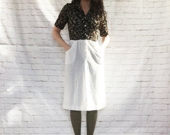 Vintage 80s Top-Attached Secretary Dress Black Floral White A-Line Skirt Pockets S