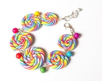 Rainbow Bracelet Lollipop Bracelet ( swirl bracelet miniature food polymer clay food bracelet colourful bracelet gift for her funny jewelry)