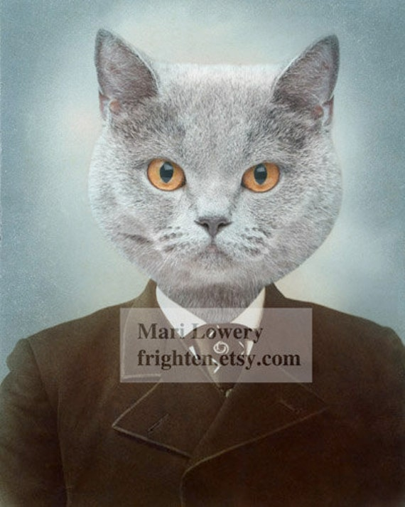 Gray Cat Art Print, Animal in Clothes, Cat in Suit, Anthropomorphic, Collage Art, Animal Portrait, 5x7 or 8x10 Print
