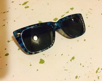 Vintage 1980s Blue and Black Wayfarer Sunglasses Unisex Mens Womens So Eighties