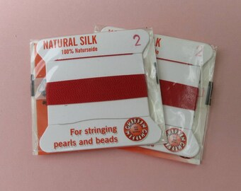 Natural Silk Cord With Needle - 2 packs - Size 2 - Red