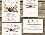 Printable Wedding Invitation - Boho Navy and Marsala Burgundy Floral Watercolor Wedding - Boho Antlers -Rustic Wedding - Indigo