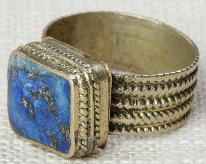 Blue & Silver Vintage Afghan Ring Handmade in Afghanistan US Size 7.5 Rustic Rectangle Stone Old Glass Tribal Ethnic Statement Ring 7I
