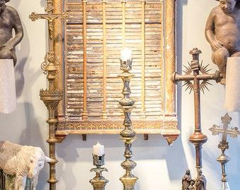 Vintage Pr Tripod Candlesticks, Brassed Spelter, Fleur de Lis, Scrolls, Flowers, Laurel Leaves