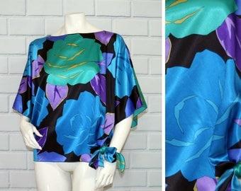 Vintage 80's Blue Floral Satin Tie Waist Batwing Blouse / Size XS